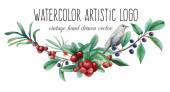 Watercolor artistic wild berries and bird logo — Stock Vector