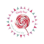 Watercolor sweet candy shop logo — Vettoriale Stock