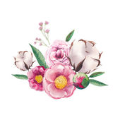 Peony, cotton, wild flowers and roses bouquet. — Stock Vector