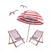 Watercolor beach lounge set — Stock Vector