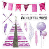 Watercolor tepee wigwam party set — Stock Vector