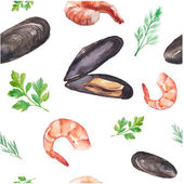 Watercolor mussels and shrimp — Stock Vector