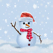 Snowman in hat and scarf — Stock Photo