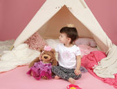 Child Play: Pretend  Games Toys and Teepee Tent — Stock Photo