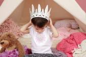 Child Pretend Play: Princess Crown and Teepee Tent — Stock Photo