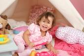 Pretend Play Tea Party at home with a TeePee Tent — Stock Photo
