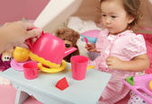 Parent or Friend Playing with Kids at Home: Toddler Tea Party — Stok fotoğraf