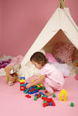 Toddler Girl Playing with BLocks and Toys — Stock Photo