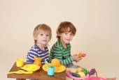 Kids Cooking and Playing with pretend Food — Stock Photo