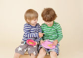 Kids Sharing a Snack, Food, Children's Fashion — Stock Photo