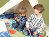 Kids Arts and Crafts Activity, Playing in Teepee Tent — Stock Photo