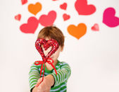 Valentine's Day Hearts and Kids Fun — Stock Photo