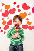 Valentine's Day Hearts and Kids Fun — Stock Photo