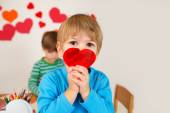 Child Holding Valentine's Day Hearts — Stock Photo