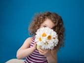 Happy Smiling Laughing Child: Girl with Curly Hair — Stock Photo