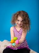 Child, Easter Activity with Bunny and Eggs — Stock Photo