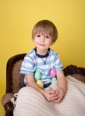 Child with Easter Eggs at  Home — Stock Photo
