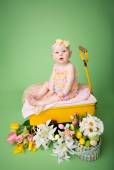 Baby Easter outfit, with Eggs and Flowers — Stock Photo