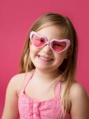 Happy Smiling Girl with Heart Glasses — Stockfoto