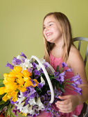 Girl with Spring Flowers, Easter — Stock Photo