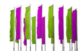 Purple and green flags — Stock Photo