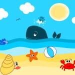 Summertime on the beach funny cartoon illustration — Stock Vector #75346317