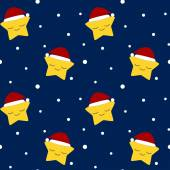 Christmas star with santa's hat in the snow night vector seamless pattern — Stock Vector