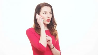 Pretty Woman In Red Clothes Answering Mobile Phone Disappointed Unhappy Reaction — Stock Video