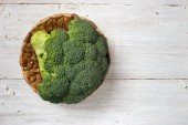 Broccoli in the basket on the white background — Stock Photo