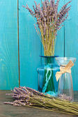 Lavender still-life on the blue background — 图库照片