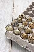 Quail eggs in the cardboard packing on the white table  — Stock Photo