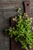 Oregano on the kitchen board on the old dark table vertical — Stock Photo