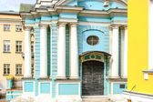Blue churh with white pillars in Russia — Stock Photo