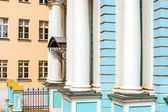 Detail of facade of the blue church with white pillars in Russia — Stock Photo