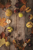 Frame of chestnuts and leaves on the wooden background vertical with film filter effect — Stock Photo