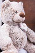 Vintage bavulun içinde oturan Teddy — Stok fotoğraf