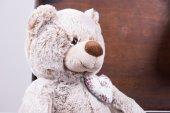 Teddy sitting in vintage suitcase — Zdjęcie stockowe