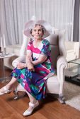 Active female senior is waiting to go out — Stock Photo
