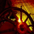 Wheel and rigging of a sailing ship — Stock Photo #57986137