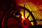 Wheel and rigging of a sailing ship — Stock Photo