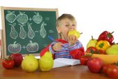 Funny kid on math lesson — Stock Photo