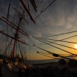 Sunset through the rigging of an sailing ship — Stock Photo #58141977