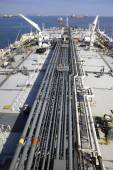 Deck and pipelines supertanker — Stock Photo