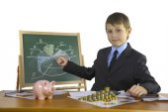 Boy develops business strategy — Stock Photo