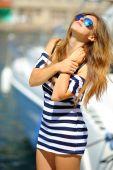 Beautiful girl captain — Foto Stock