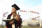 Girl graduate international university — Stock Photo