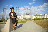 Women graduate international university with a  tutorial — ストック写真