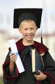 Boy graduate international university — Stock Photo