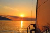 Sunrise aboard a sailing yacht — ストック写真