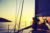 Sunrise on a yacht — Stock Photo